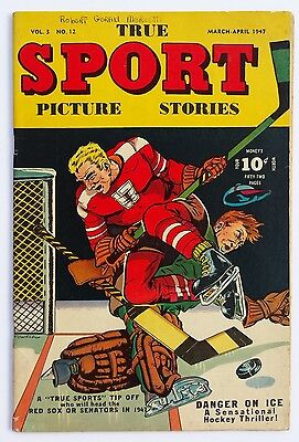 *rare* True Sport Picture Stories Vol.3 #12 1947 *hockey Cover *see Pics*