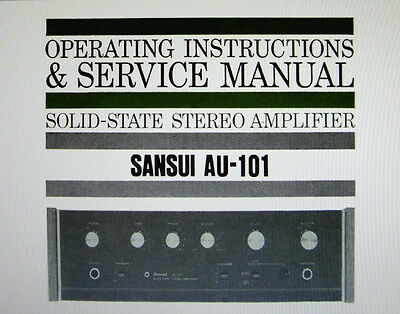 Sansui Au-101 St Amp Operating Instructions And Service Manual Inc Schem English