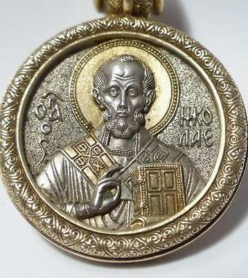 Russian Gold & Silver Medallion Icon of St Nicholas & Seven Sleepers of Ephesus