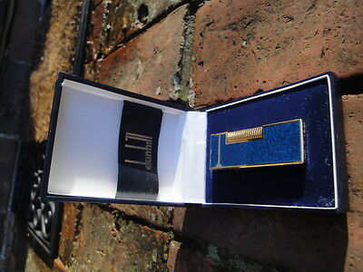 Dunhill Rollagas Blue Marble / Lapis Lazuli Effect Lighter Original Box Used
