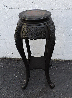 Early 1900's Ebony Carved Wood Flower Stand Satute Column Made in Japan 7629
