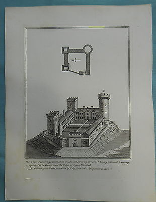 Antique Copper Print Plan And View Cambridge Castle From Ancient Drawing Hooper