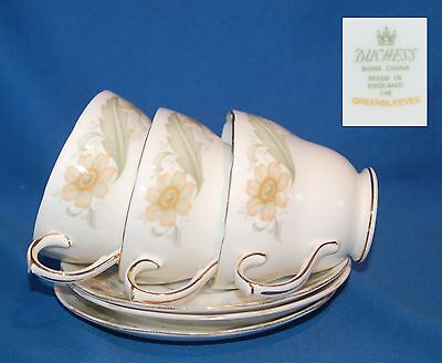 Three Duchess Greensleeves duos, cups and saucers
