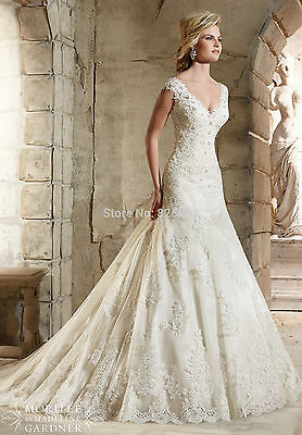 New Mermaid Lace White/Ivory Wedding Dresses Bridal Custom Size 6 8 10 12 14 16+