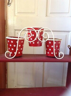 vintage style metal holder with 3 polka dot plantpots shabby chic