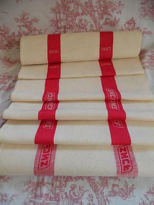 Vintage French Sncf Linen Torchon/ Tea Towel / Fabric / Table Runner-