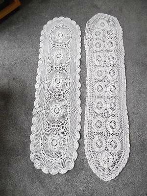 2 Vintage French Hand Crochet Lace Table Runners
