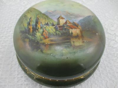 Vintage Royal Bayreuth Dresser or Powder Box~Castle Scene~Bavaria