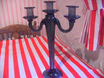 Large glass three point candelabra