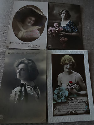 4 x Glamour Postcards - flowers - ladies 1911 - 1930s - very good condition