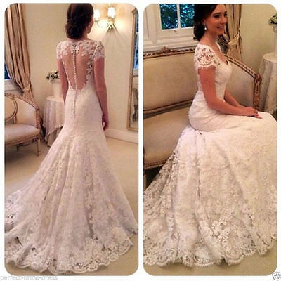 New Lace Mermaid Wedding Dress Bridal Gown Size 6 8 10 12 14 16 18++++++