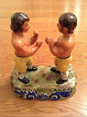 STAFFORDSHIRE POTTERY BOXING FIGURE SPRING vs LANGAN BOUT IN 1824 NO CHIPS/DENTS