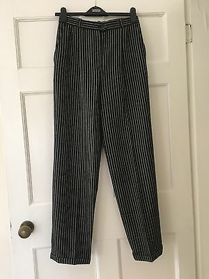Vintage Ladies Jaeger Trousers Size 8 Waisted Pockets Wool Striped Black White