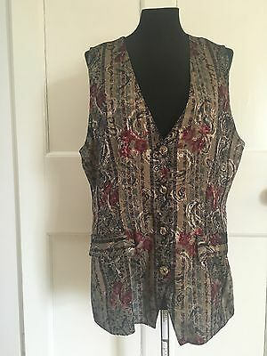 Vintage Brocade Waistcoat Size 10 12 Gold Red 70s 80s Floral Silky