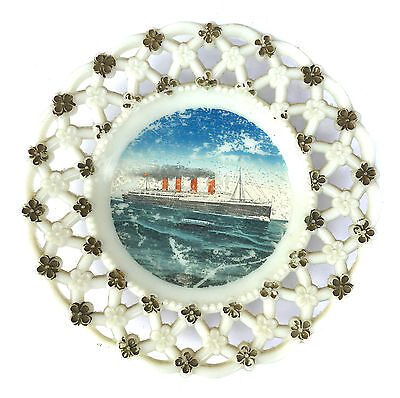 RMS Lusitania Torpedoed by German U Boat in WWI Edwardian Souvenir Ribbon Plate