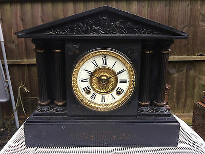 Gorgeous Antique Ansonia Clock Co Black Slate Mantel Clock