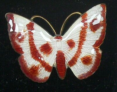 Unusual Vintage/Antique Red & White Guilloche Enamel Butterfly Brooch Pin Lovely