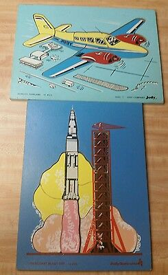 Vintage Wooden Puzzles Rocket and Airplane Judy Company