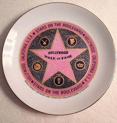 Vintage HOLLYWOOD WALK OF FAME STAR PORCELAIN PLATE - KAROL CORP.