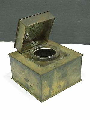 Antique Art & Crafts Mission Brass Square Inkwell w/ Glass Insert