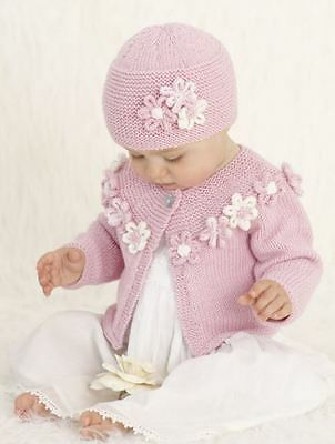 Knitting Pattern Girl's Sweet Flower Hat and Cardigan Set Birth - 3 Years