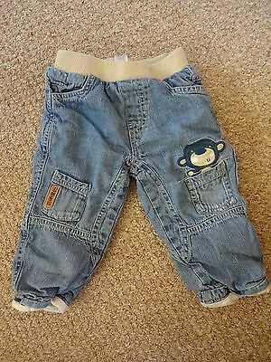 Baby Boys Clothes 12-18 Months - Denim Jeans W Monkey Picture - Lined