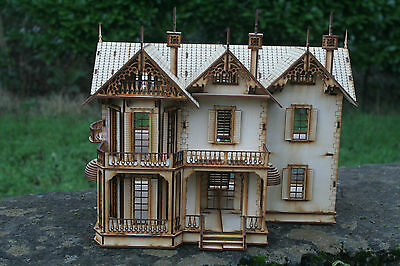 Laser Cut Ply wood wooden dolls house Gothic House Kit
