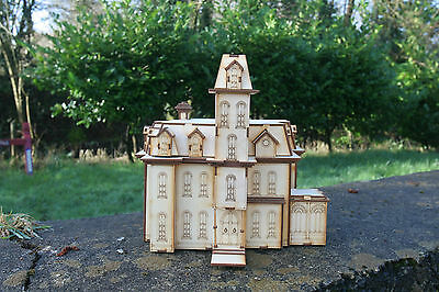 Laser cut ply wood wooden Addams Family house model