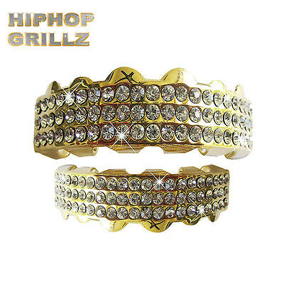 Gold Grillz Plated Teeth Mouth Grills Top Bottom Treble Bar Diamante Diamond