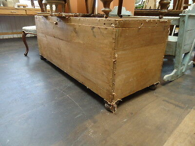 Antique stripped pine huge trunk chest ottoman for reupholstery or use as it is