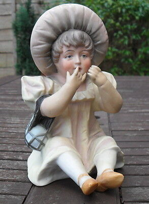 Vintage Antique Bisque Piano Baby Little Girl- Half Doll related