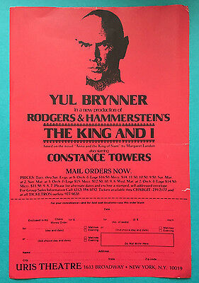 THE KING AND I Ad Flyer Yul Brunner, Constance Towers (1977)