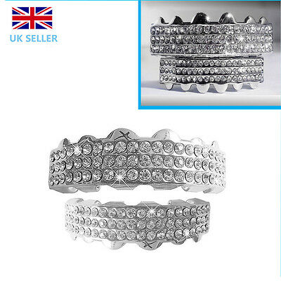 Silver Grillz Plated Teeth Mouth Grills Top Bottom Treble Bar Diamante Diamond