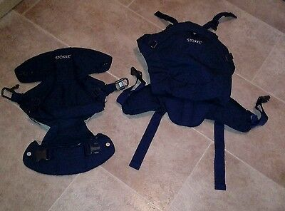 Stokke MyCarrier Navy and beige. Front and back baby carrier. Manual included.