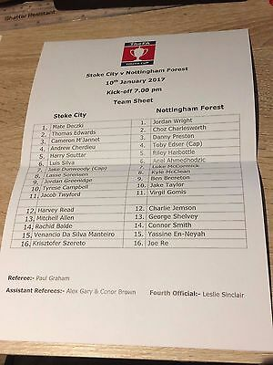 Stoke City V Nottingham Forest - Fa Youth Cup- 10 January 2017- Teamsheet