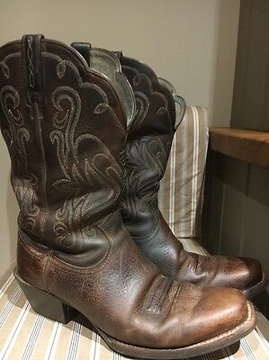Ariat Ladies Brown Leather Cowboy Boots Size 7