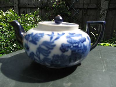 Antique Late 19th Century Royal Doulton OLD Willow Teapot Flow Blue&Gold