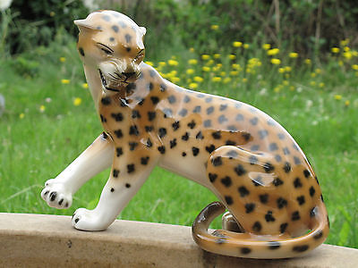 Large Vintage Royal Dux Jaguar Leopard  Figure 28cm Long Czechoslovakia #824