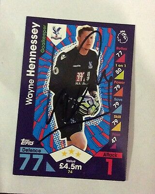 NEW Match Attax 16 17 Signed Wayne Hennessey Card Crystal Palace