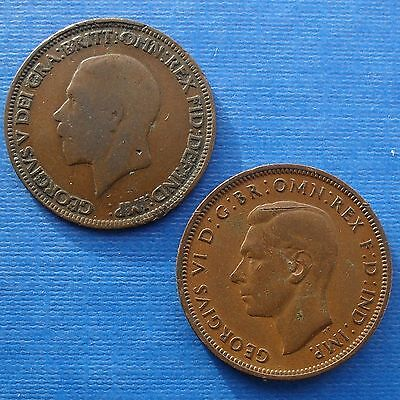 Double Headed Half Pennies George V And George Vi