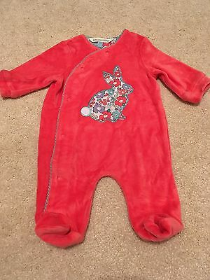Baby Girls Babygrow From John Lewis, Size 7lbs, Coral, Floral, Bunny