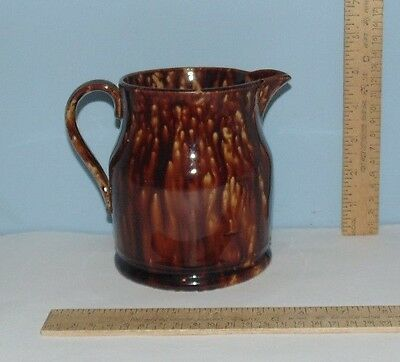 Brown Pitcher - Yellow Ware or YellowWare - unmarked - 5 1/4 inches tall