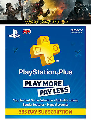 Playstation Plus 12 Month Membership Code - 365 Days Subscription - UK Only PSN