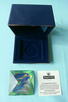 """Royal Mail Stamp Crown Optical Glass Pyramid """"Ozone Layer stamp"""" Paperweight"""
