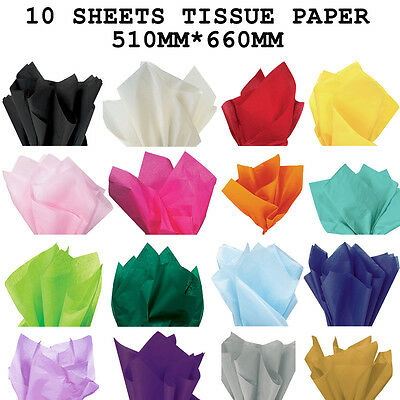 10 sheets Tissue Paper 51cm x 66cm(Gold&silver 5 sheets)Party Wedding Birthday