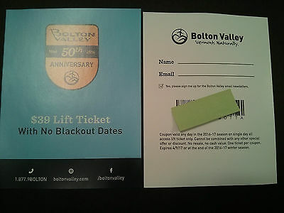 Four(4) Bolton Valley Ski Lift Coupons (Vermont)  $39 each Admission