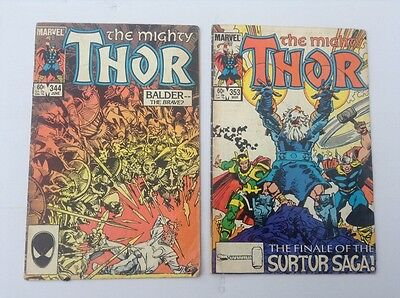 Lot of 2 THE MIGHTY THOR Comics-Marvel-#344 June-1984 & #353 Mar 1984.
