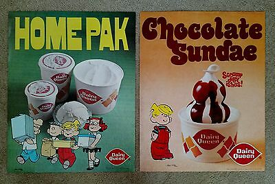 (2) 1970's DAIRY QUEEN posters Dennis the Menace. Chocolate Sundae & Home Pak