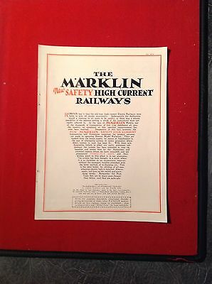 1927 Four Page Advert The Marklin High Current Model Railways