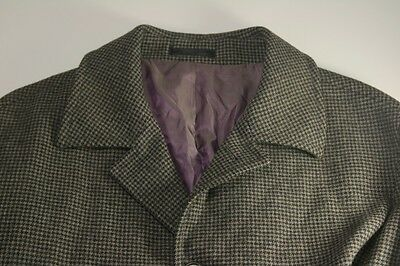 Brook Taverner Grey Wool Houndstooth Coat Luxury Fabric Moon England 44 Overcoat